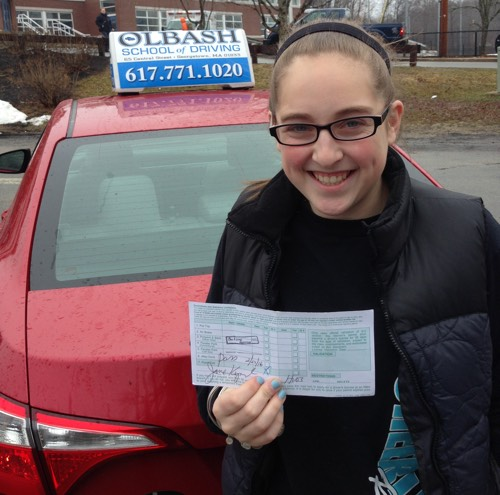 a Georgetown Drivers ed student who just got her license